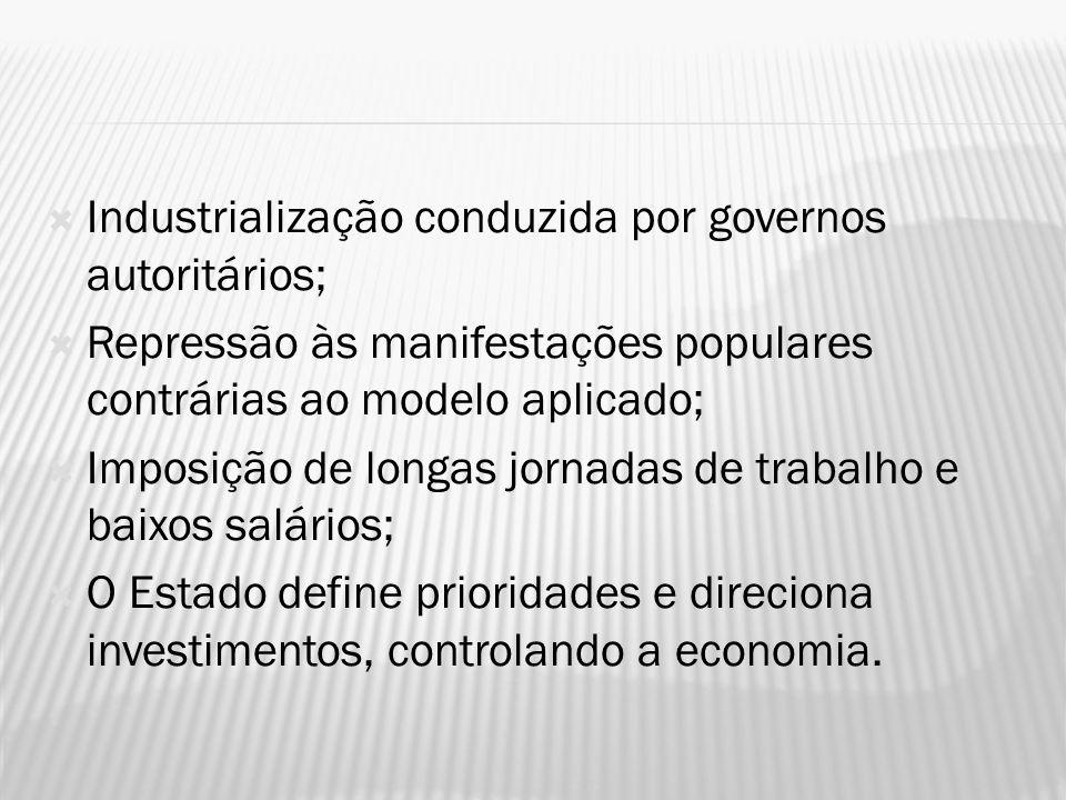 Industrialização conduzida por governos autoritários;