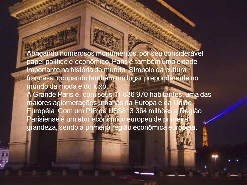 Abrigando numerosos monumentos, por seu considerável papel político e econômico, Paris é também uma cidade importante na história do mundo. Símbolo da cultura francesa, ocupando também um lugar preponderante no mundo da moda e do luxo.