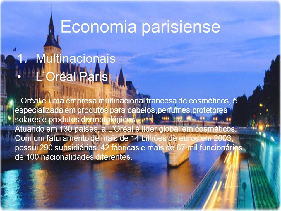 Economia parisiense Multinacionais L'Oréal Paris