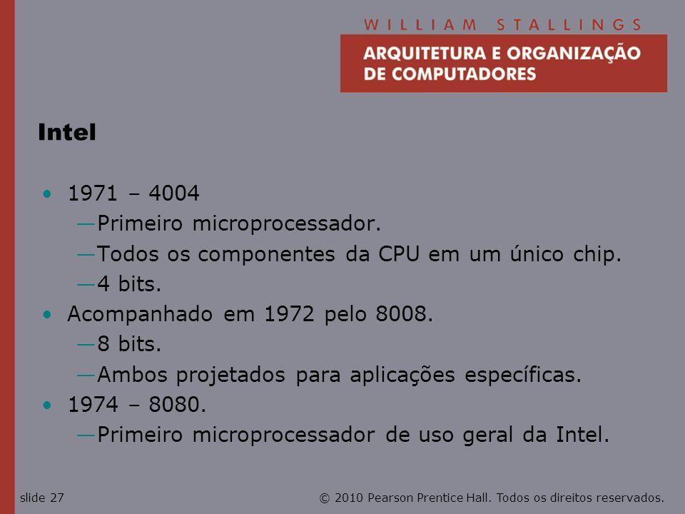 Intel 1971 – 4004 Primeiro microprocessador.