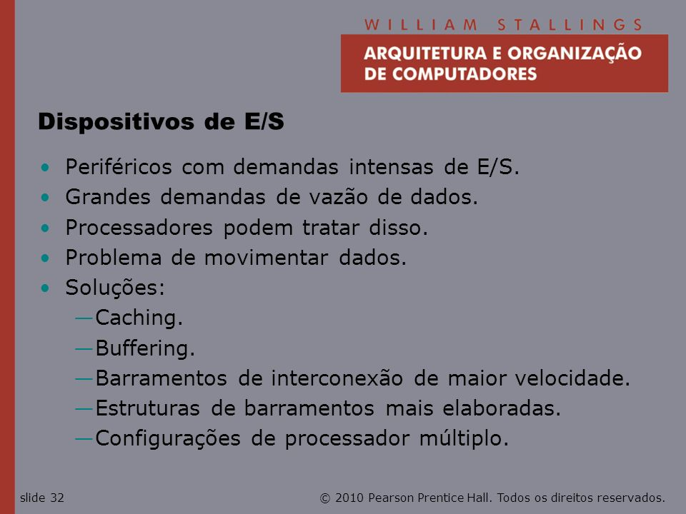 Dispositivos de E/S Periféricos com demandas intensas de E/S.