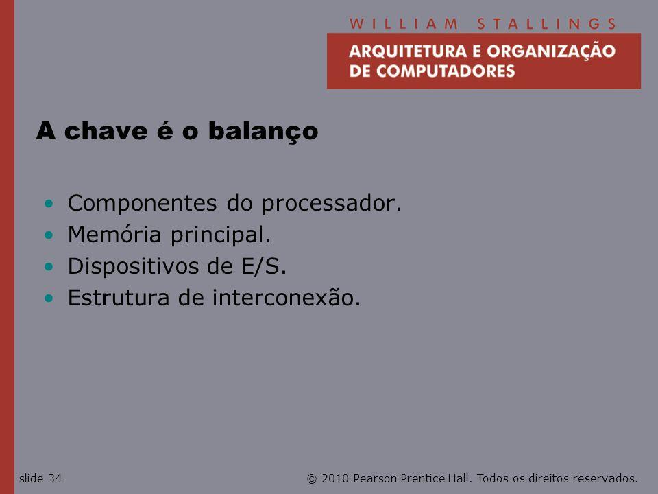 A chave é o balanço Componentes do processador. Memória principal.