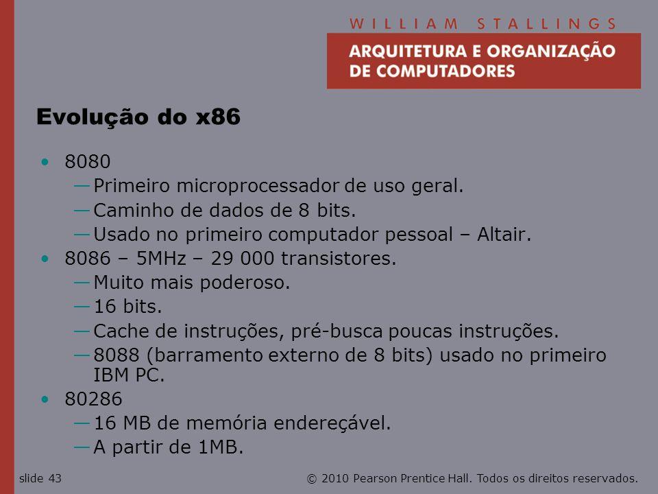 Evolução do x86 8080 Primeiro microprocessador de uso geral.