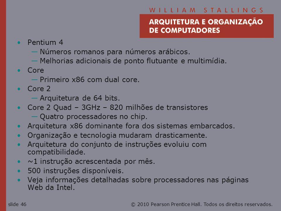 Pentium 4 Números romanos para números arábicos. Melhorias adicionais de ponto flutuante e multimídia.