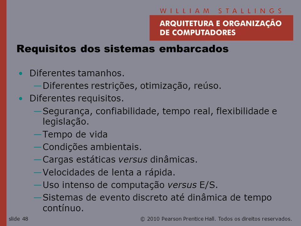 Requisitos dos sistemas embarcados