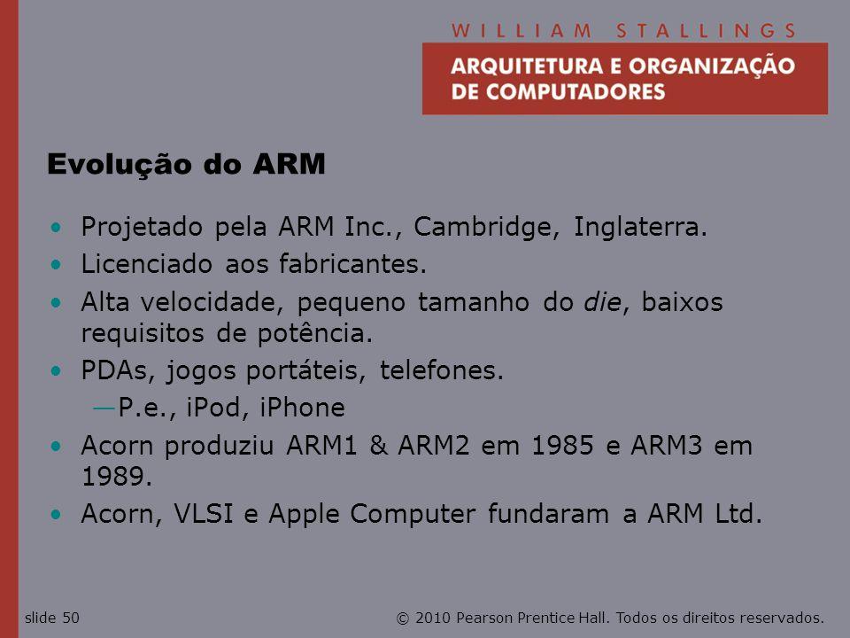 Evolução do ARM Projetado pela ARM Inc., Cambridge, Inglaterra.