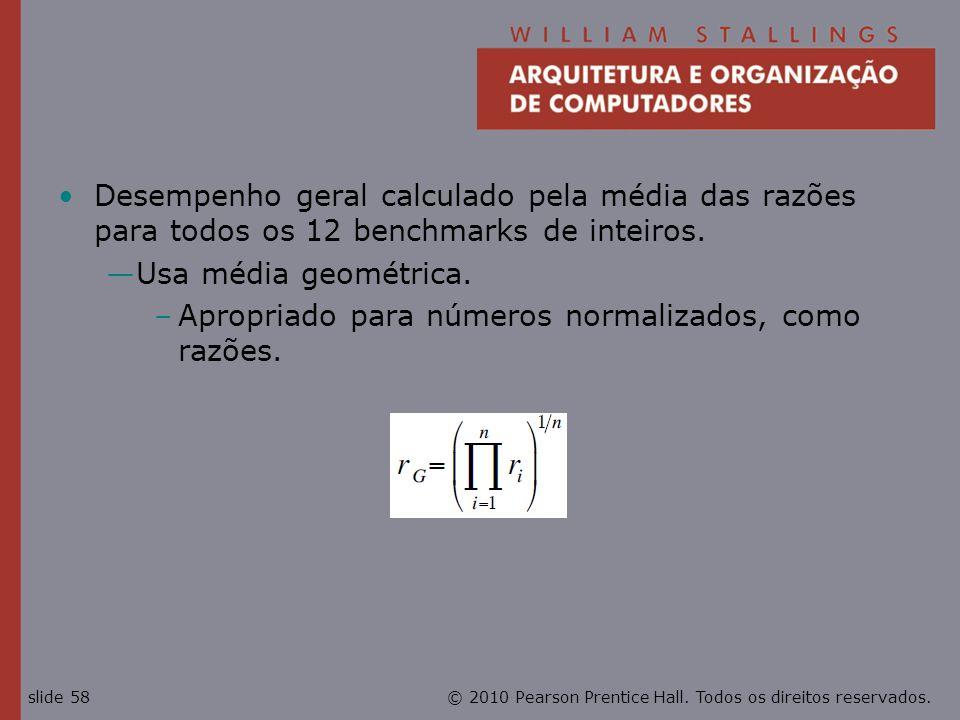 Desempenho geral calculado pela média das razões para todos os 12 benchmarks de inteiros.