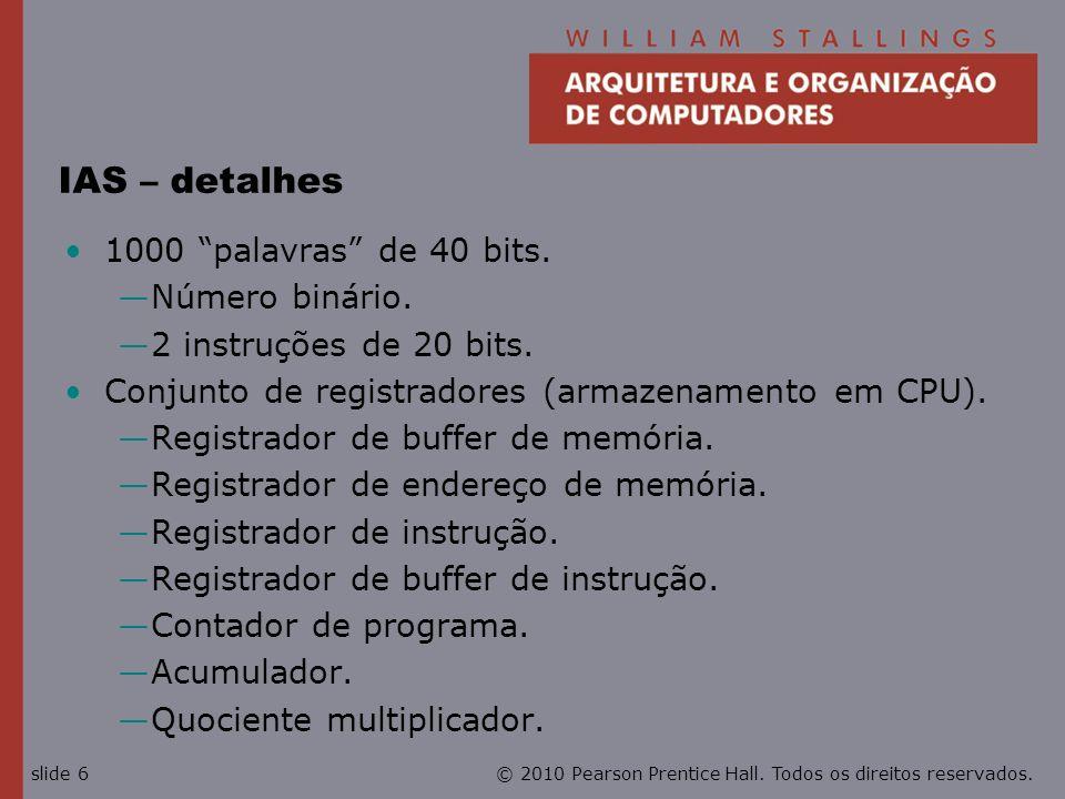 IAS – detalhes 1000 palavras de 40 bits. Número binário.