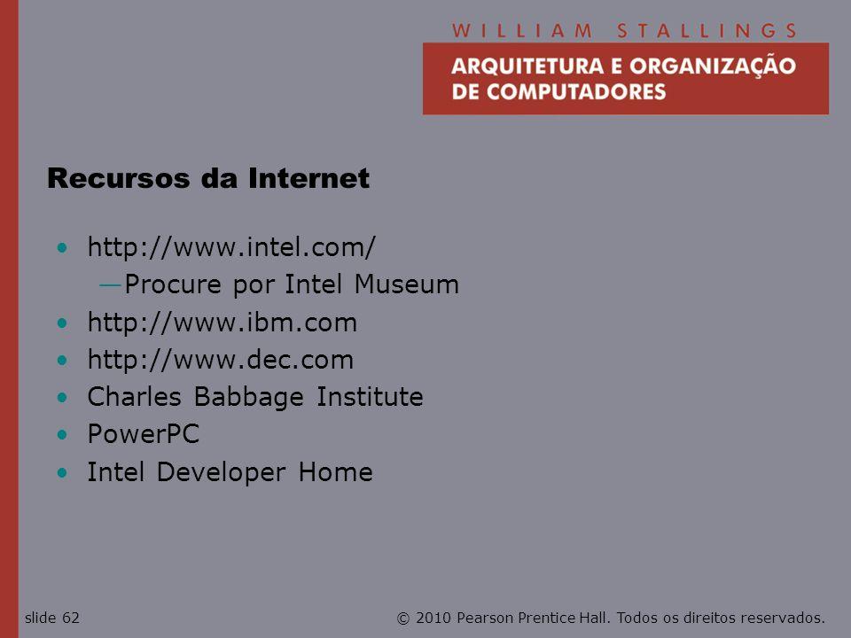 Recursos da Internet http://www.intel.com/ Procure por Intel Museum