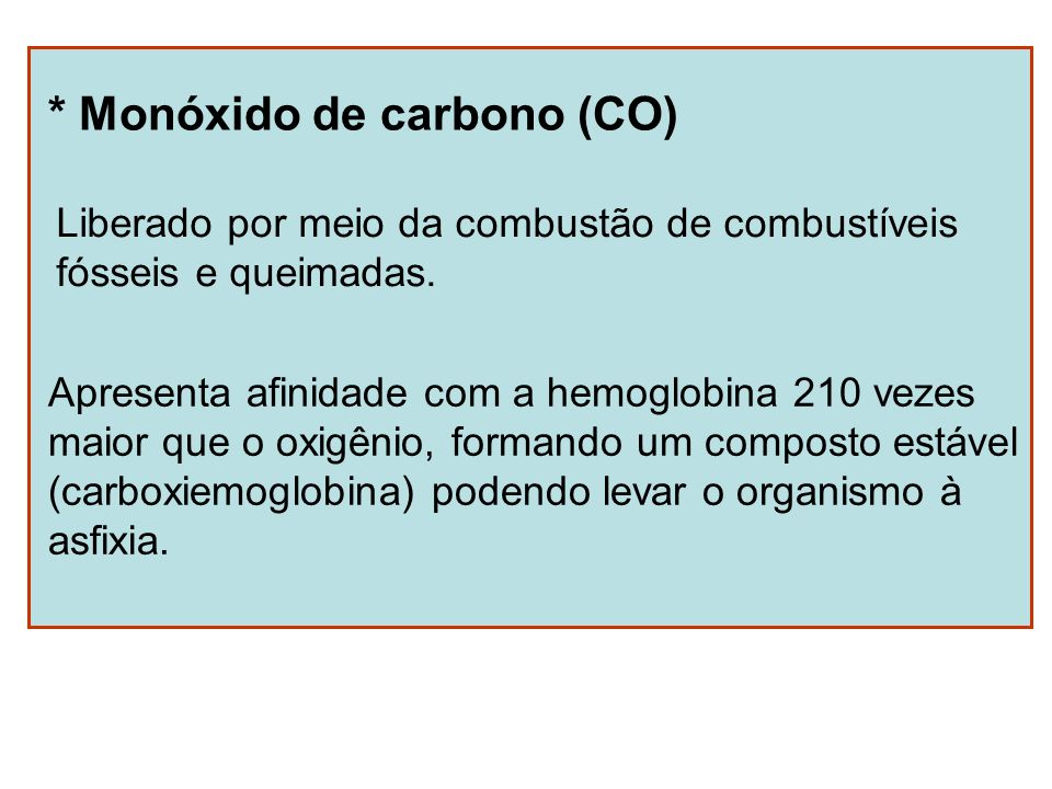 * Monóxido de carbono (CO)