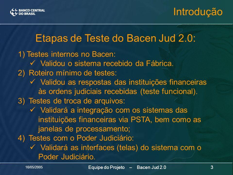 Etapas de Teste do Bacen Jud 2.0: