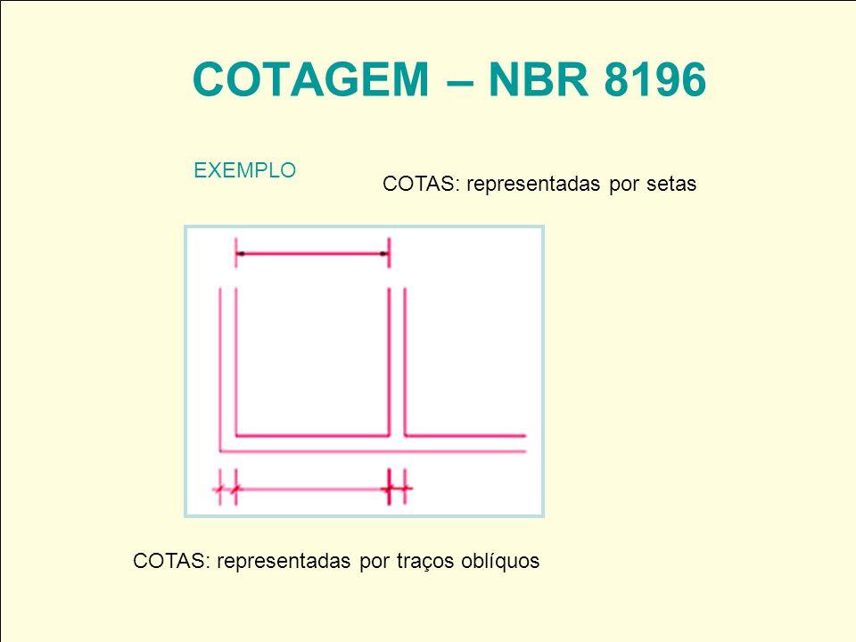 COTAGEM – NBR 8196 EXEMPLO COTAS: representadas por setas