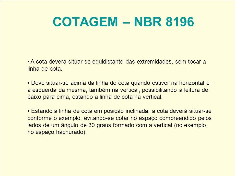 COTAGEM – NBR 8196 A cota deverá situar-se equidistante das extremidades, sem tocar a linha de cota.