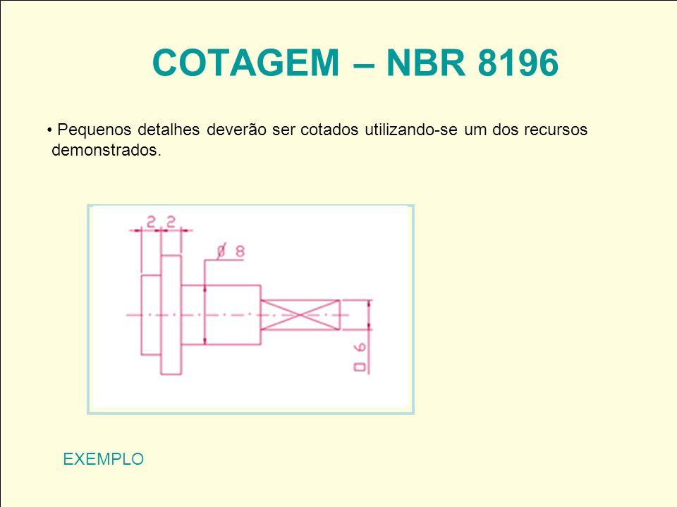 COTAGEM – NBR 8196 Pequenos detalhes deverão ser cotados utilizando-se um dos recursos. demonstrados.