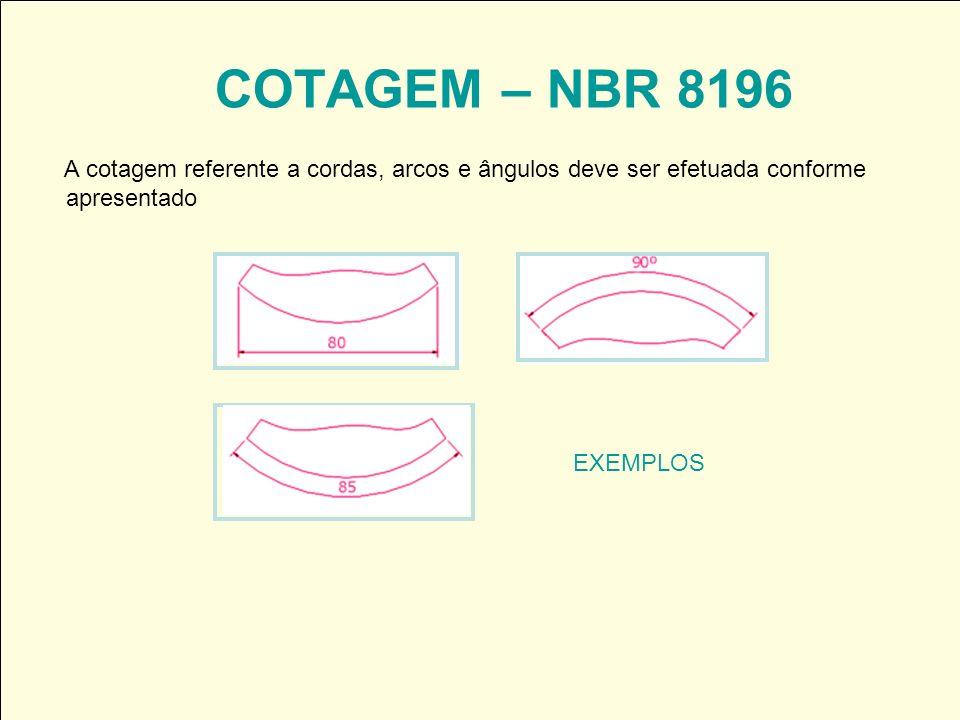 COTAGEM – NBR 8196 A cotagem referente a cordas, arcos e ângulos deve ser efetuada conforme. apresentado.