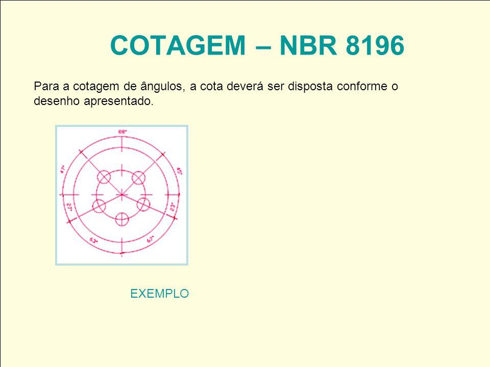 COTAGEM – NBR 8196 Para a cotagem de ângulos, a cota deverá ser disposta conforme o. desenho apresentado.