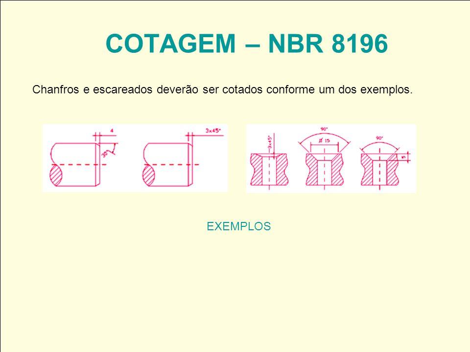 COTAGEM – NBR 8196 Chanfros e escareados deverão ser cotados conforme um dos exemplos. EXEMPLOS