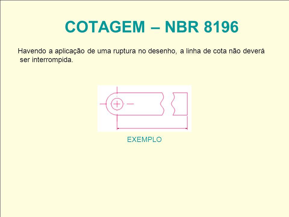 COTAGEM – NBR 8196 Havendo a aplicação de uma ruptura no desenho, a linha de cota não deverá. ser interrompida.
