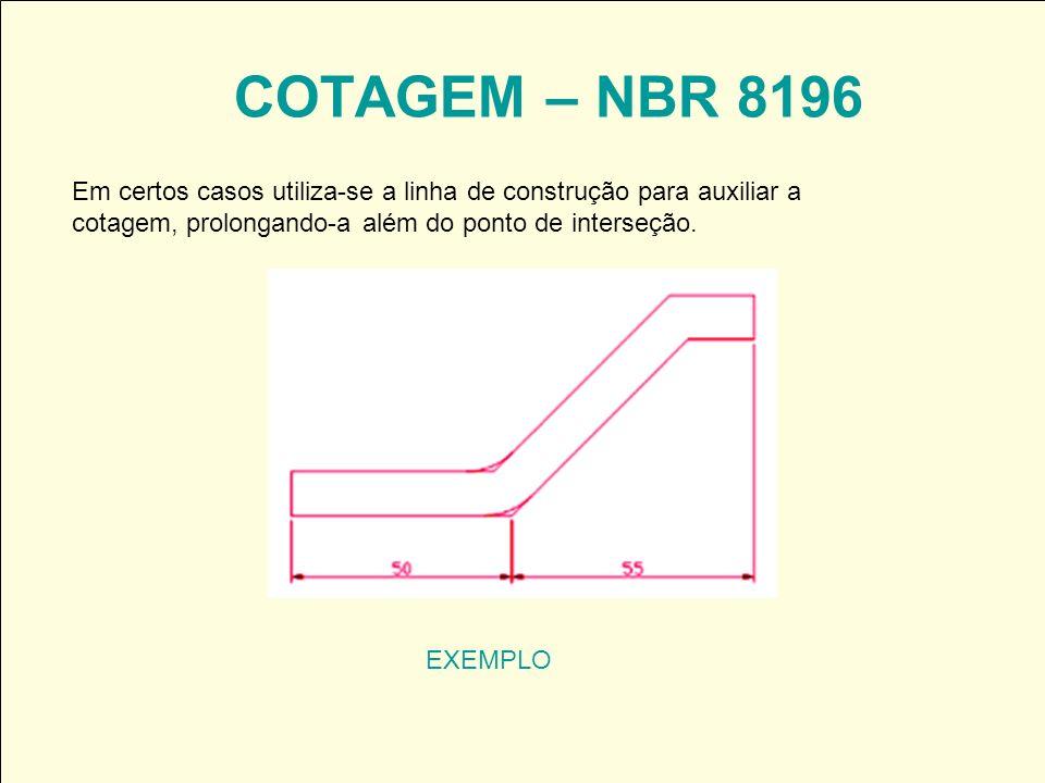 COTAGEM – NBR 8196 Em certos casos utiliza-se a linha de construção para auxiliar a cotagem, prolongando-a além do ponto de interseção.