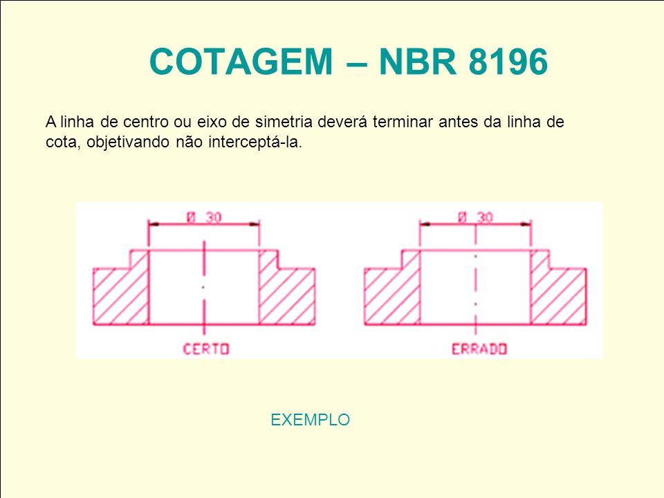 COTAGEM – NBR 8196 A linha de centro ou eixo de simetria deverá terminar antes da linha de cota, objetivando não interceptá-la.
