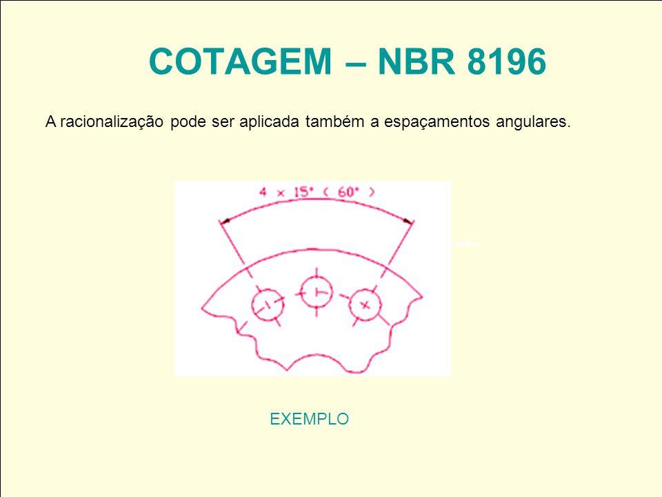COTAGEM – NBR 8196 A racionalização pode ser aplicada também a espaçamentos angulares.