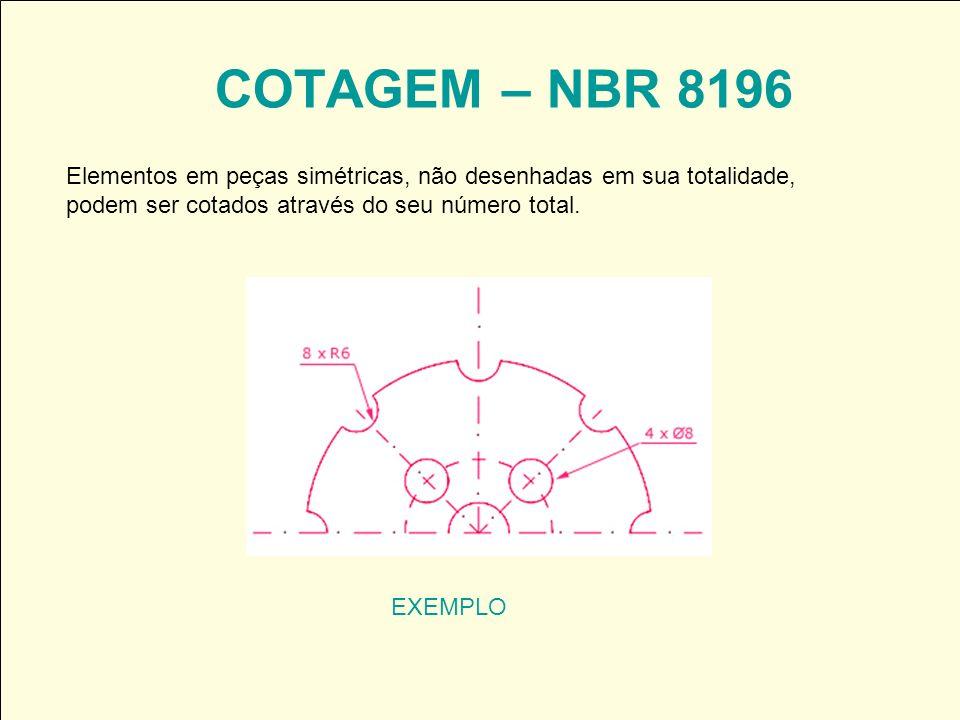 COTAGEM – NBR 8196 Elementos em peças simétricas, não desenhadas em sua totalidade, podem ser cotados através do seu número total.