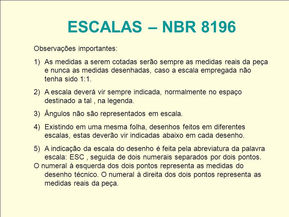 ESCALAS – NBR 8196 Observações importantes: