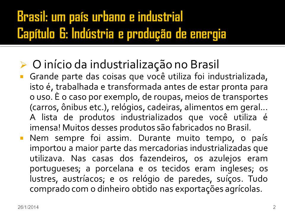 Brasil: um país urbano e industrial Capítulo 6: Indústria e produção de energia