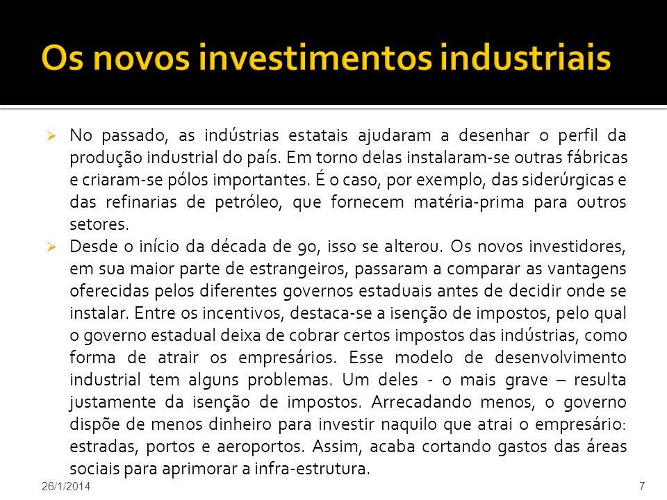 Os novos investimentos industriais