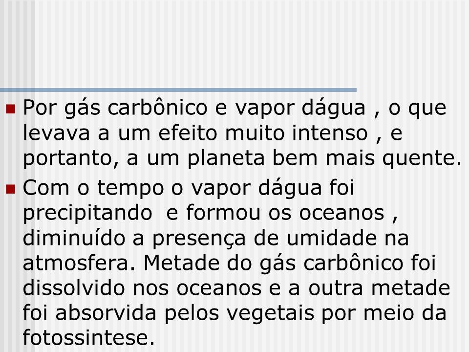 Por gás carbônico e vapor dágua , o que levava a um efeito muito intenso , e portanto, a um planeta bem mais quente.