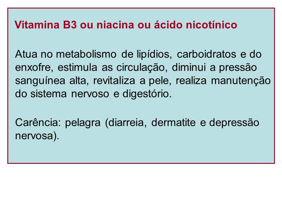 Vitamina B3 ou niacina ou ácido nicotínico