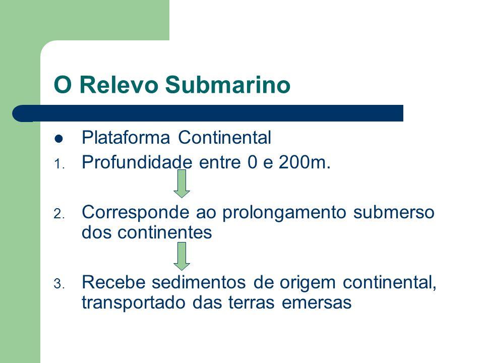 O Relevo Submarino Plataforma Continental Profundidade entre 0 e 200m.