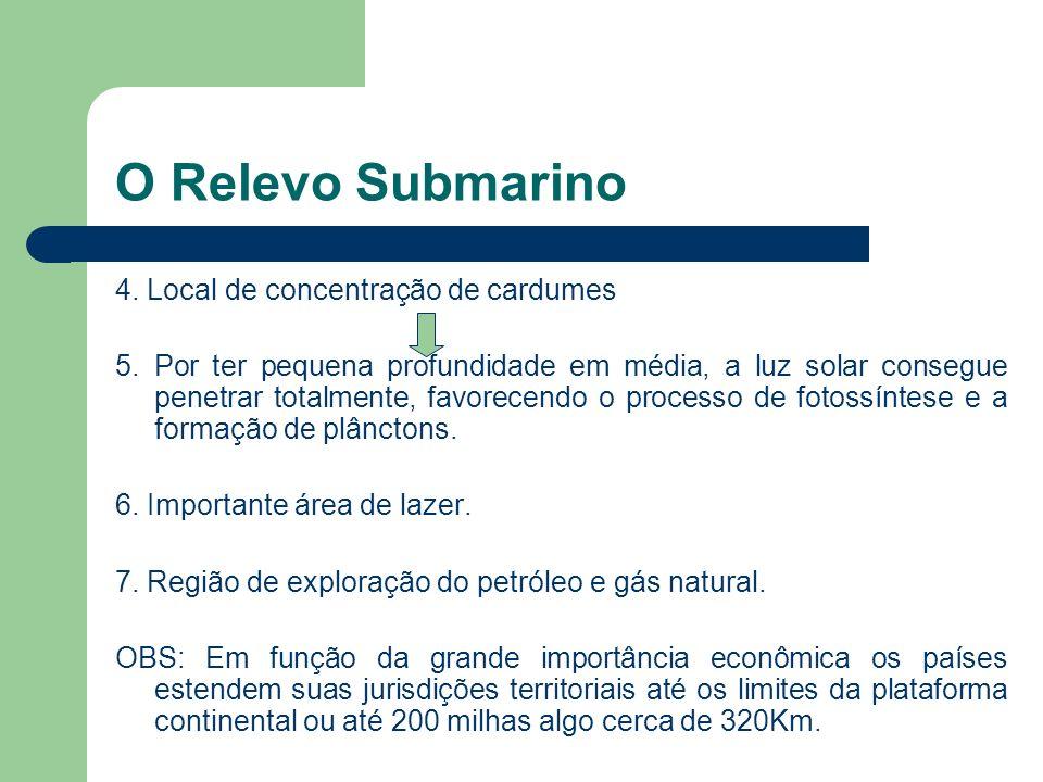 O Relevo Submarino 4. Local de concentração de cardumes