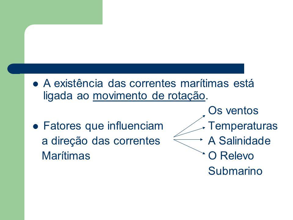 A existência das correntes marítimas está ligada ao movimento de rotação.