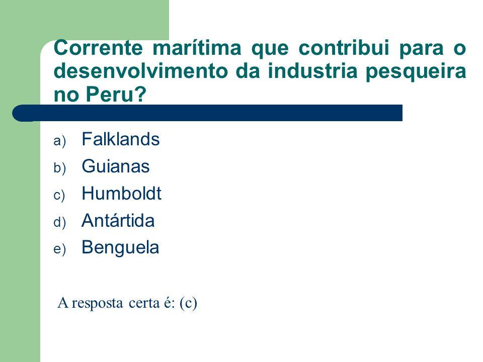 Corrente marítima que contribui para o desenvolvimento da industria pesqueira no Peru
