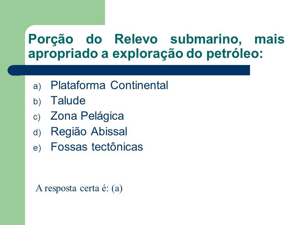 Porção do Relevo submarino, mais apropriado a exploração do petróleo: