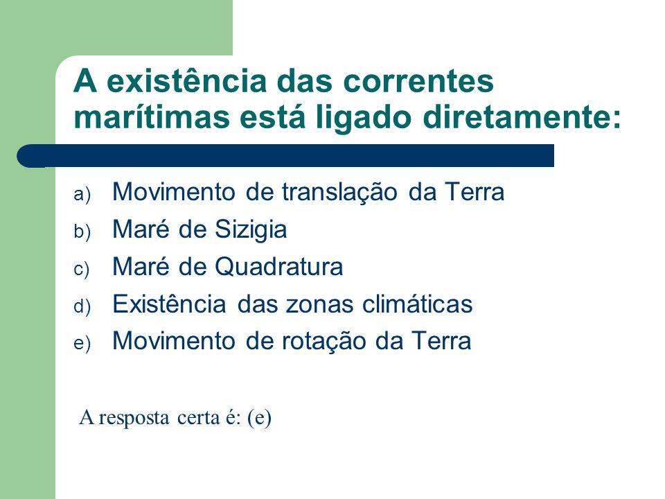 A existência das correntes marítimas está ligado diretamente: