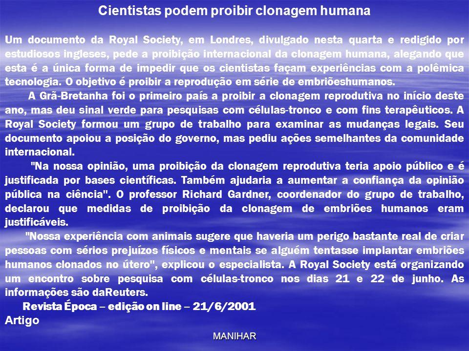 Cientistas podem proibir clonagem humana