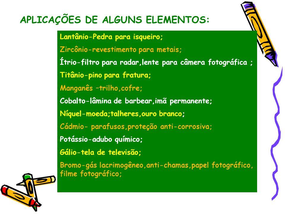 APLICAÇÕES DE ALGUNS ELEMENTOS: