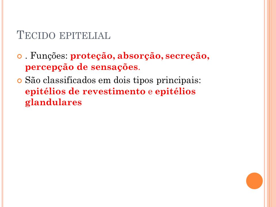 Tecido epitelial . Funções: proteção, absorção, secreção, percepção de sensações.