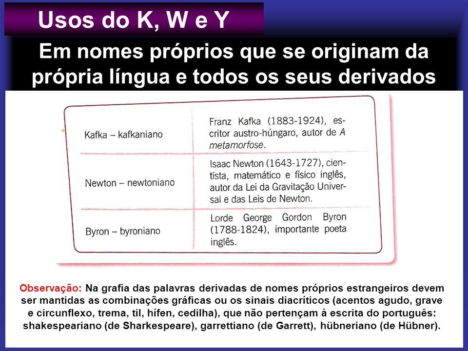 Usos do K, W e Y Em nomes próprios que se originam da própria língua e todos os seus derivados.