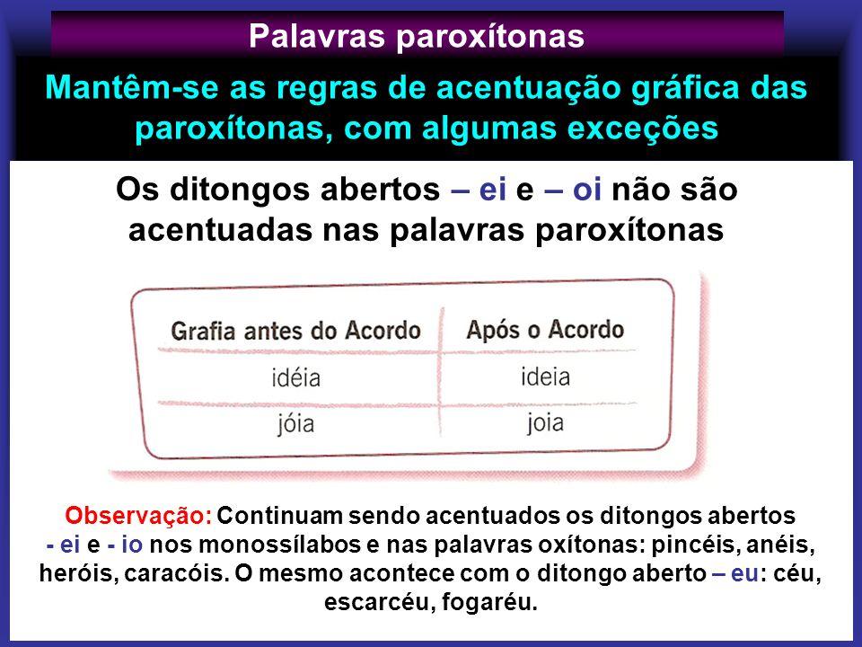 Palavras paroxítonas Mantêm-se as regras de acentuação gráfica das paroxítonas, com algumas exceções.