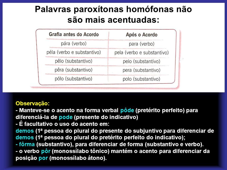 Palavras paroxítonas homófonas não são mais acentuadas:
