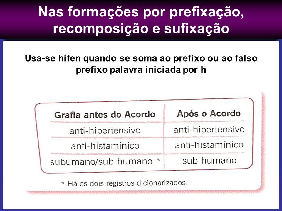 Nas formações por prefixação, recomposição e sufixação