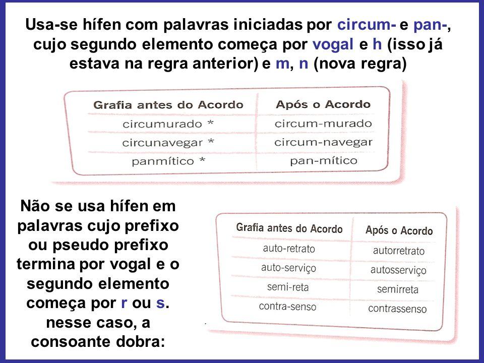 Usa-se hífen com palavras iniciadas por circum- e pan-, cujo segundo elemento começa por vogal e h (isso já estava na regra anterior) e m, n (nova regra)