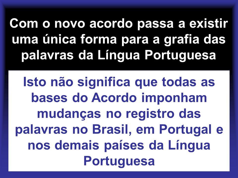 Com o novo acordo passa a existir uma única forma para a grafia das palavras da Língua Portuguesa