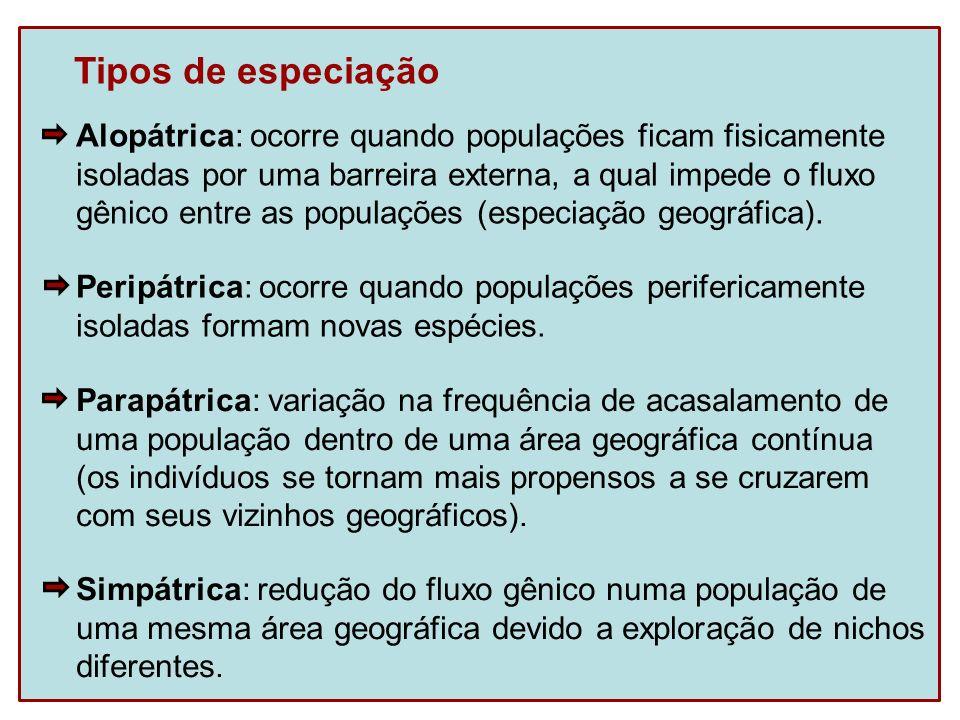 Tipos de especiação Alopátrica: ocorre quando populações ficam fisicamente. isoladas por uma barreira externa, a qual impede o fluxo.