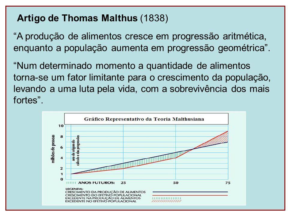 Artigo de Thomas Malthus (1838)