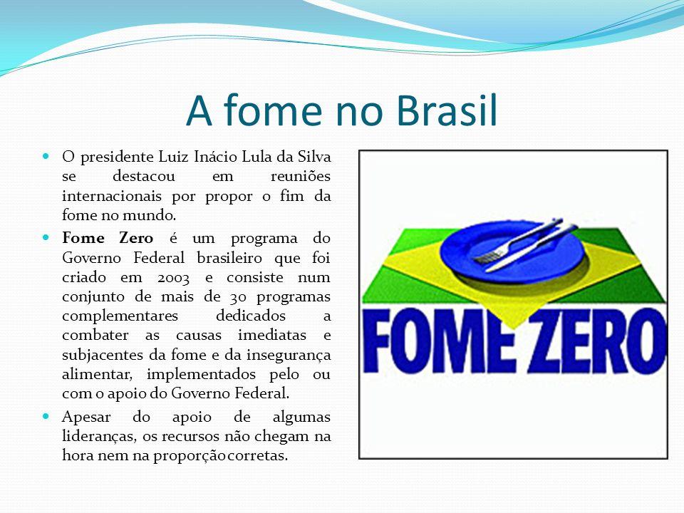 A fome no Brasil O presidente Luiz Inácio Lula da Silva se destacou em reuniões internacionais por propor o fim da fome no mundo.