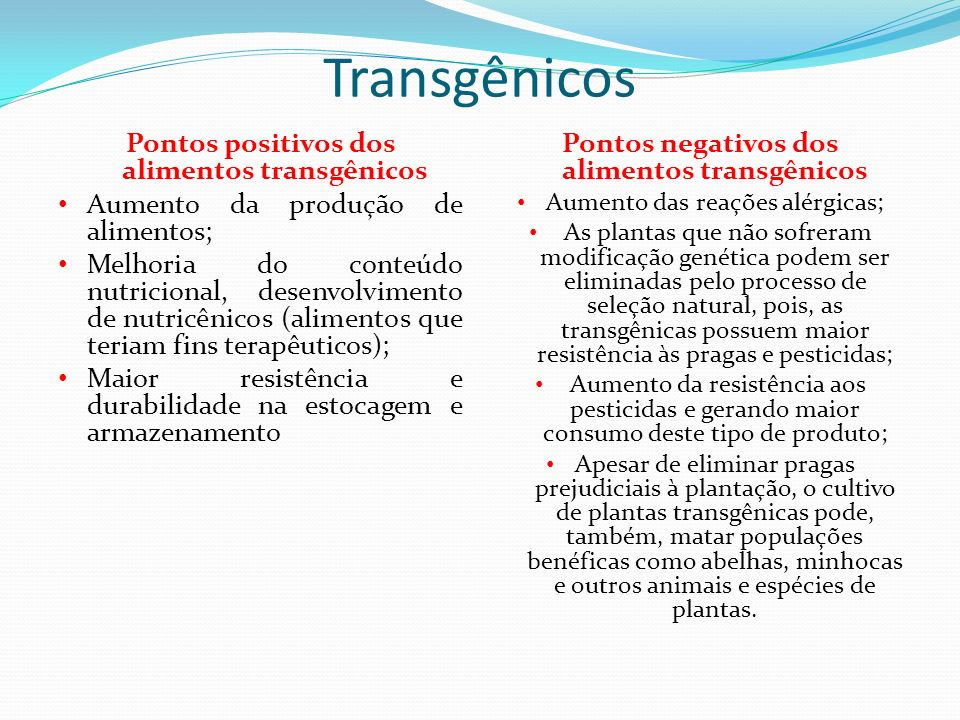 Transgênicos Pontos positivos dos alimentos transgênicos